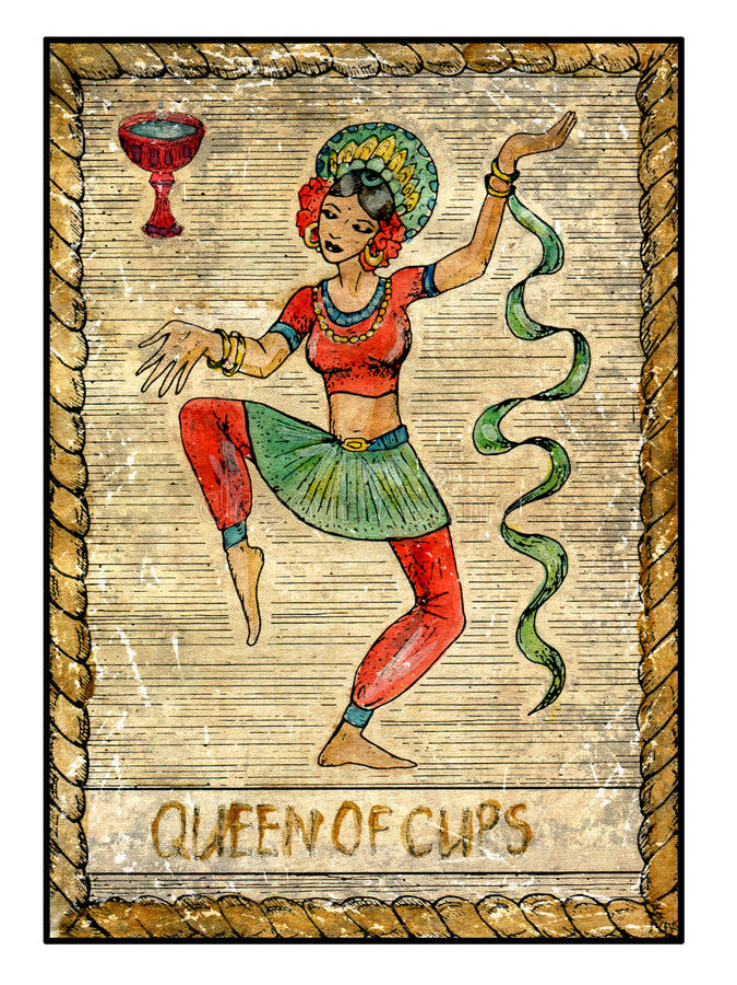 老占卜用的纸牌 充分的甲板 杯子的女王/王后 皇族释放例证