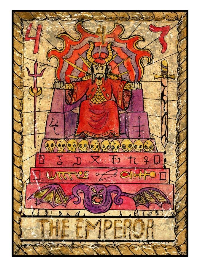 老占卜用的纸牌 充分的甲板 皇帝 库存例证