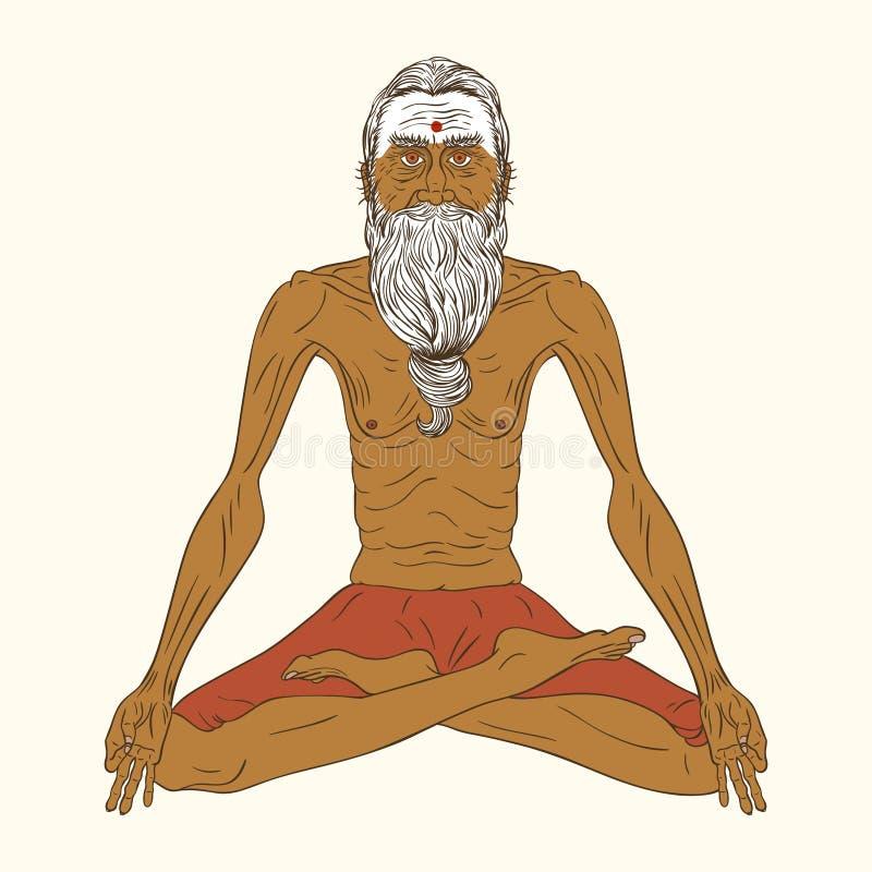 老印地安信奉瑜伽者人 皇族释放例证