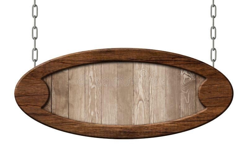 老卵形路标由与垂悬棕色的木制框架的自然木头制成在链子 向量例证