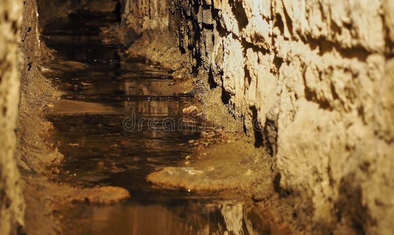 老历史地下小河下水道 免版税库存图片