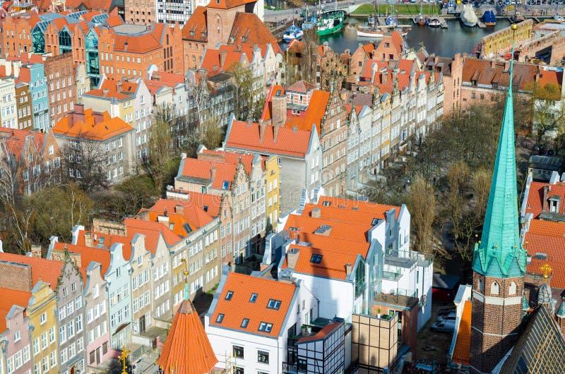 老历史市中心,格但斯克,波兰鸟瞰图  免版税库存图片