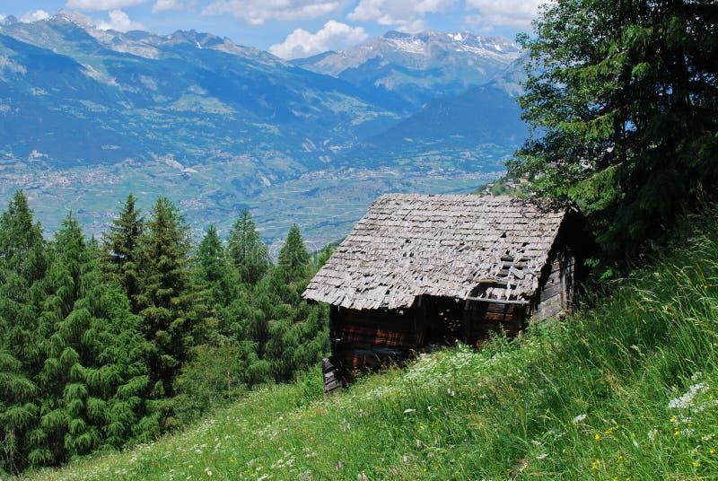 老原木小屋在阿尔卑斯 图库摄影