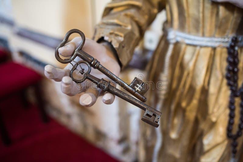 老古老古铜色钥匙 库存图片