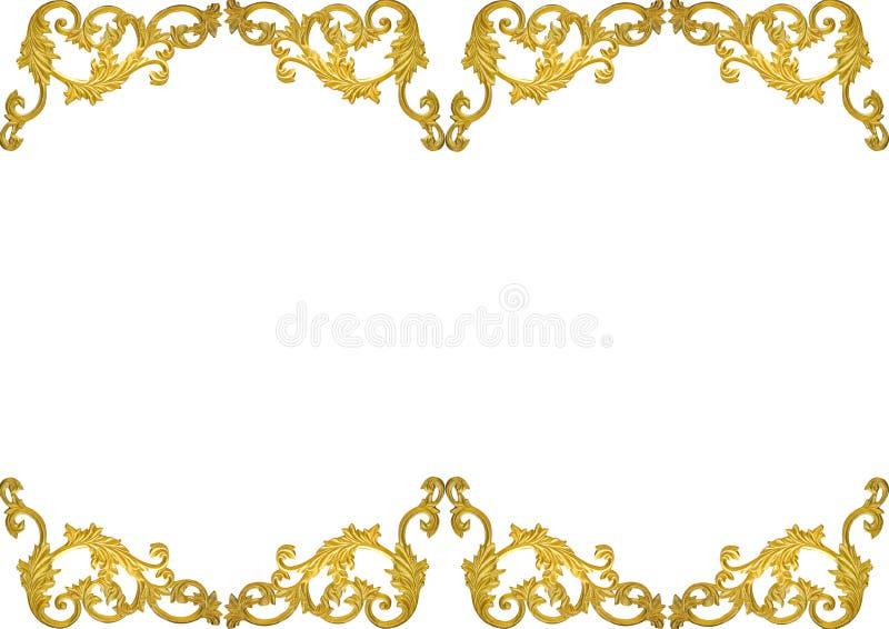 老古色古香的在白色背景隔绝的边界的金框架灰泥墙壁希腊文化罗马葡萄酒样式样式线设计 库存例证