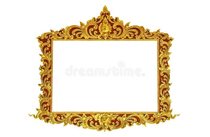 老古色古香的在白色背景隔绝的边界的金框架灰泥墙壁希腊文化罗马葡萄酒样式样式线设计 免版税库存照片