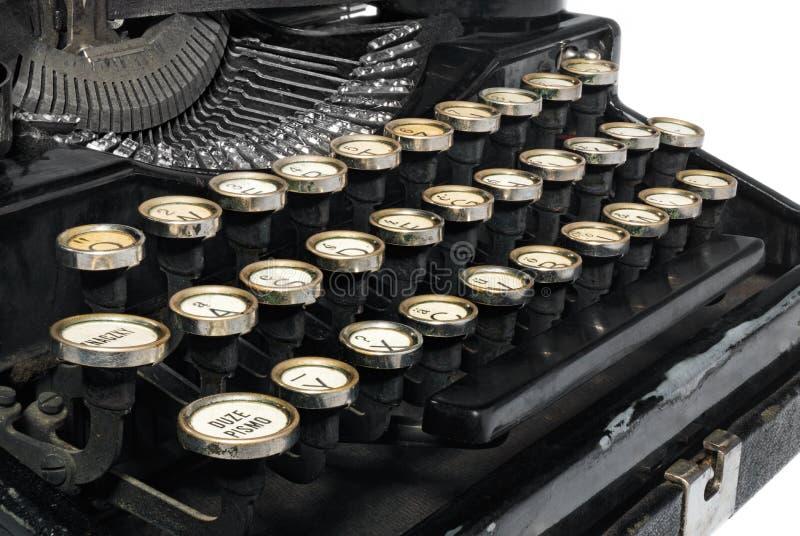 老古色古香的葡萄酒便携式的打字机, mechani的特写镜头 免版税库存图片