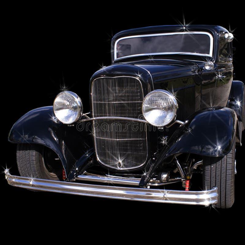 老古色古香的黑色汽车 免版税库存图片