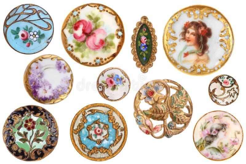 老古色古香的维多利亚女王时代的缝合的按钮1890 库存图片