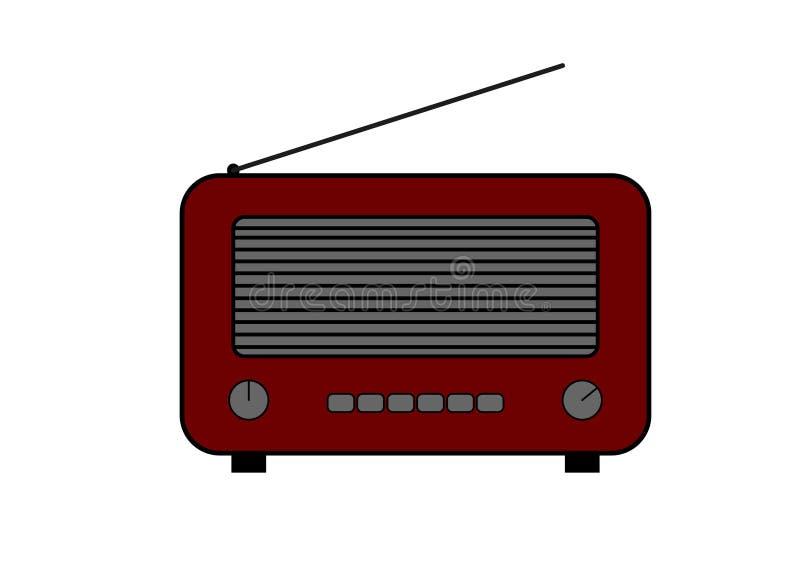 老和减速火箭的样式收音机 平的样式传染媒介图画 深红无线电象和标志 皇族释放例证