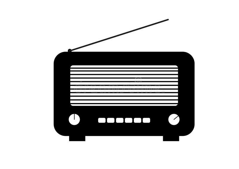 老和减速火箭的样式收音机 平的样式传染媒介图画 黑无线电象和标志 被概述的传染媒介图画 向量例证