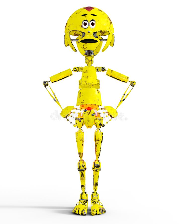 老哀伤的金机械机器人llustration 库存例证