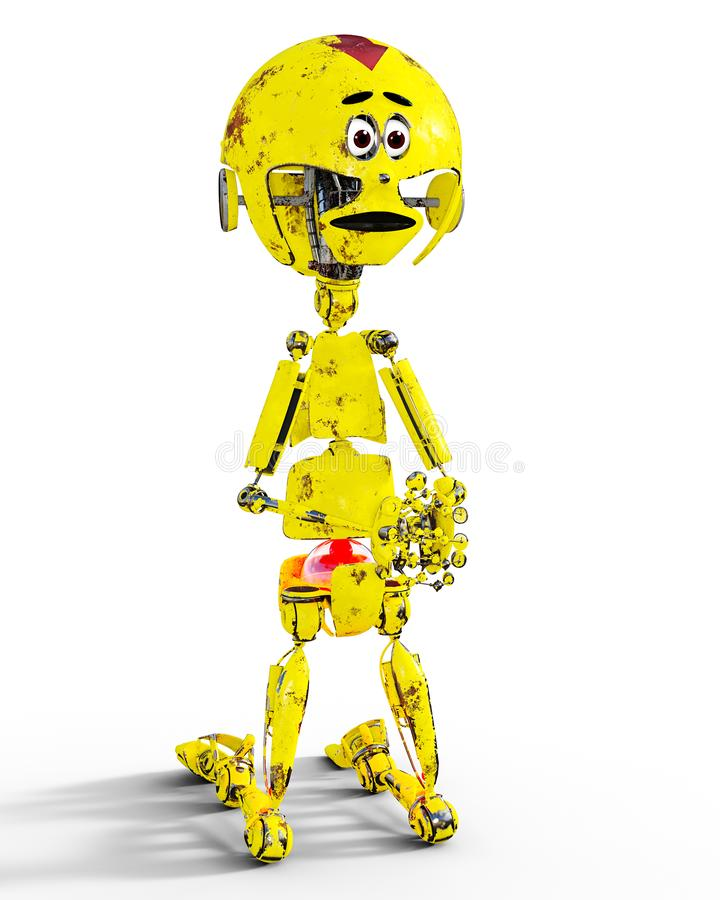 老哀伤的金机械机器人llustration 皇族释放例证