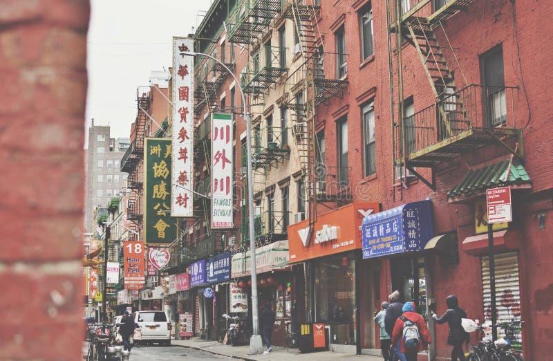 老唐人街象亭子的纽约和佩尔街下东城NYC街道城市 图库摄影