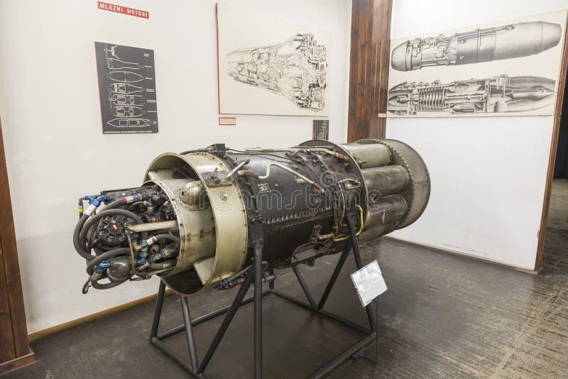 老喷气机引擎在尼古拉・特斯拉技术博物馆在萨格勒布,克罗地亚 免版税库存图片