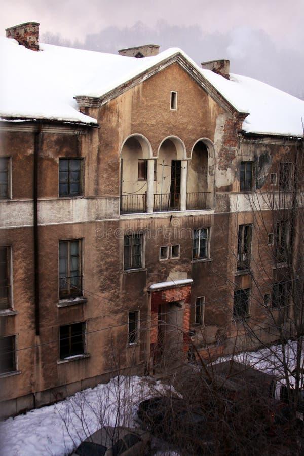 老困厄的大厦在工业重镇 库存图片