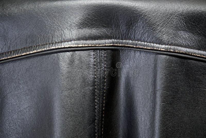 老困厄的皮夹克后面  免版税图库摄影