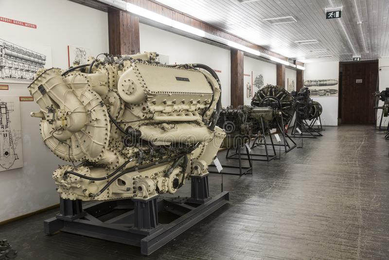 老在尼古拉・特斯拉技术博物馆运输引擎在萨格勒布,克罗地亚 图库摄影
