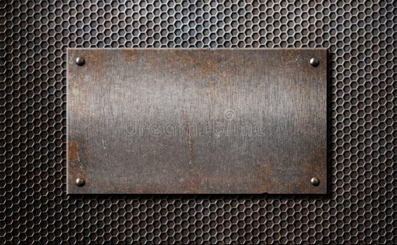 老在梳子栅格的金属生锈或土气板材 库存照片