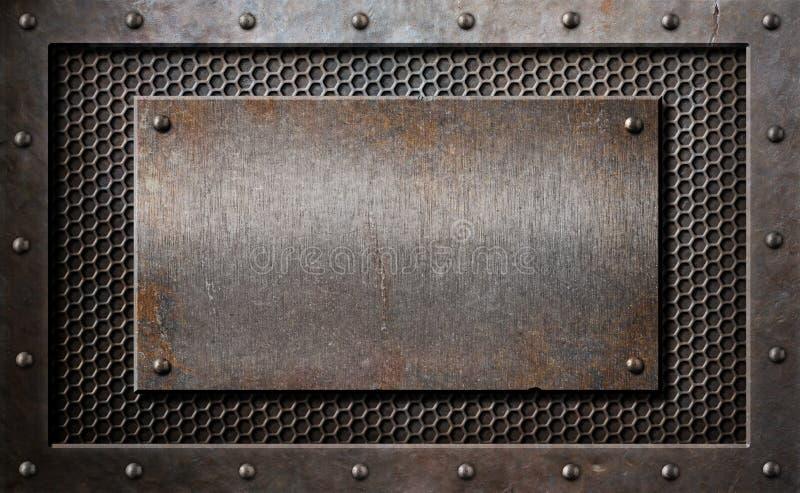 老在梳子栅格的金属生锈或土气板材 图库摄影