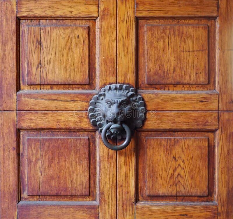 老在正方形划分的一个木门中间的狮子顶头瘤 免版税库存照片