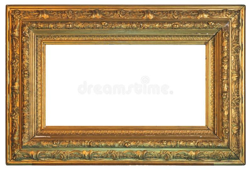 老在白色背景的葡萄酒金黄框架 库存图片