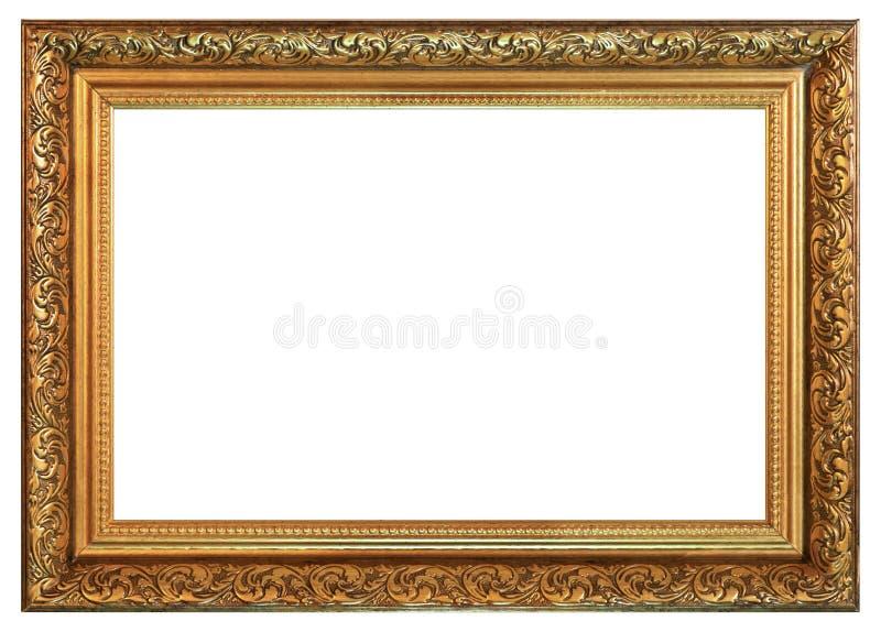 老在白色背景的葡萄酒金黄框架 免版税库存图片