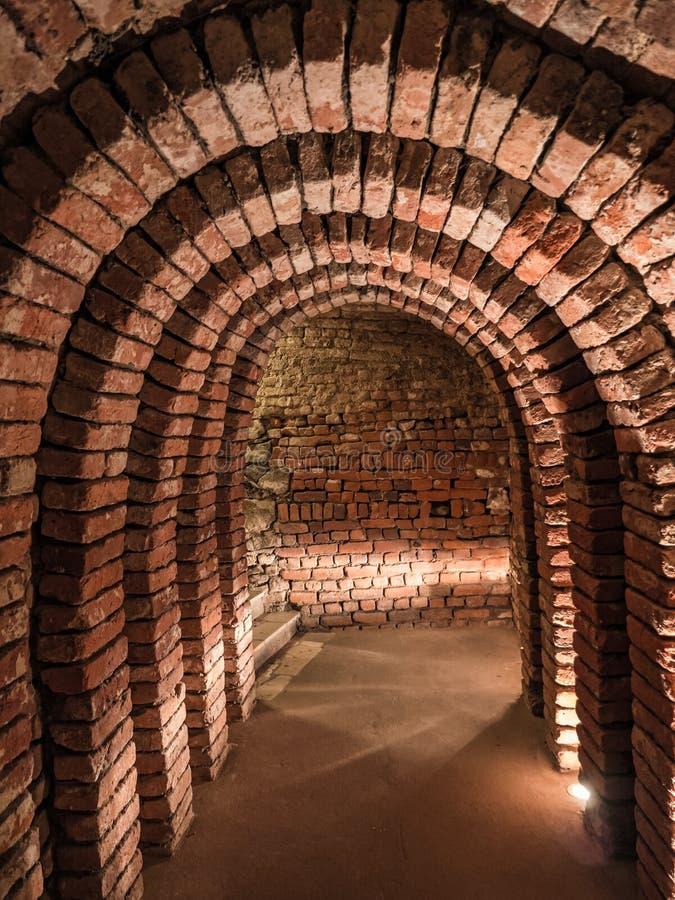 老地下brickstone土牢 免版税图库摄影