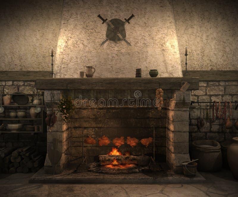 老城堡厨房 皇族释放例证