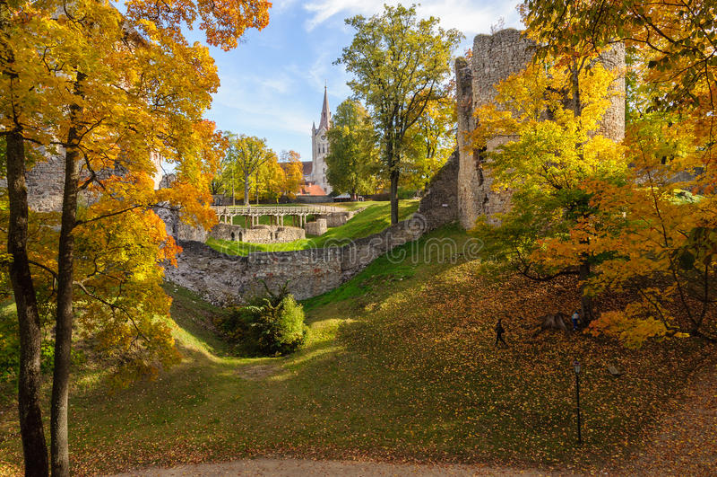 老城堡废墟和秋天在Cesis镇,拉脱维亚停放 免版税图库摄影