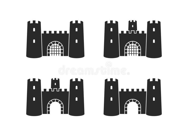 老城堡 r 在白色背景的被隔绝的城堡 皇族释放例证