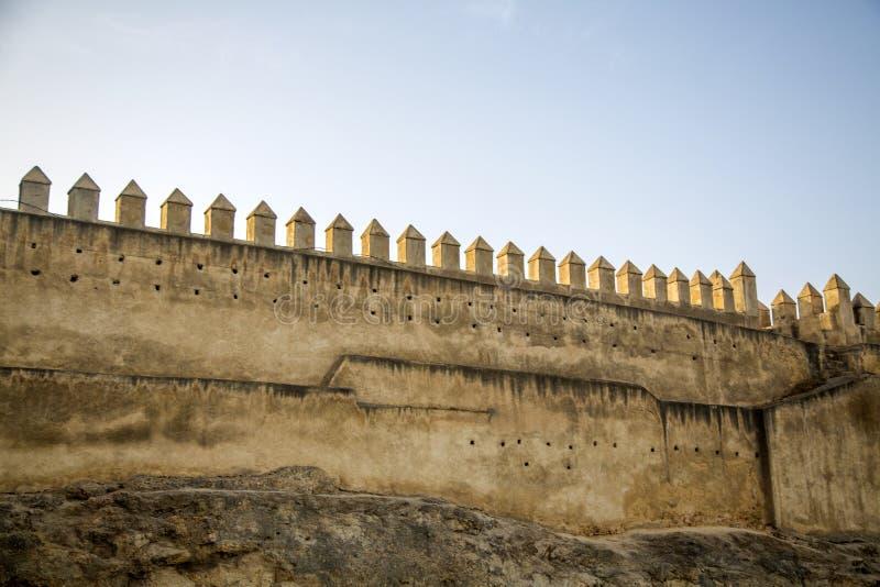 老城市墙壁在菲斯,摩洛哥 免版税库存图片