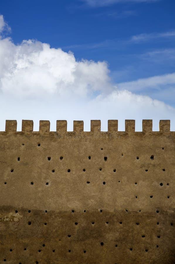 老城市墙壁在菲斯 库存图片