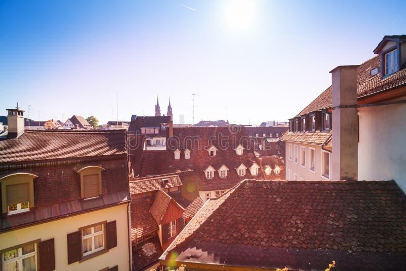 老城市屋顶顶视图,巴塞尔,瑞士 免版税库存照片