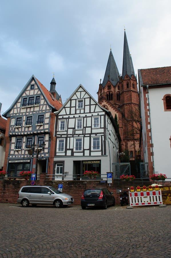 老城市房子在Gelhausen 图库摄影