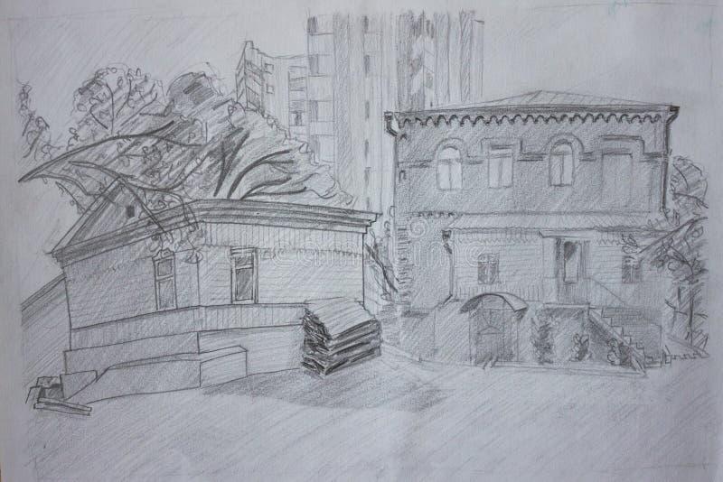老城市房子的图片 免版税库存照片