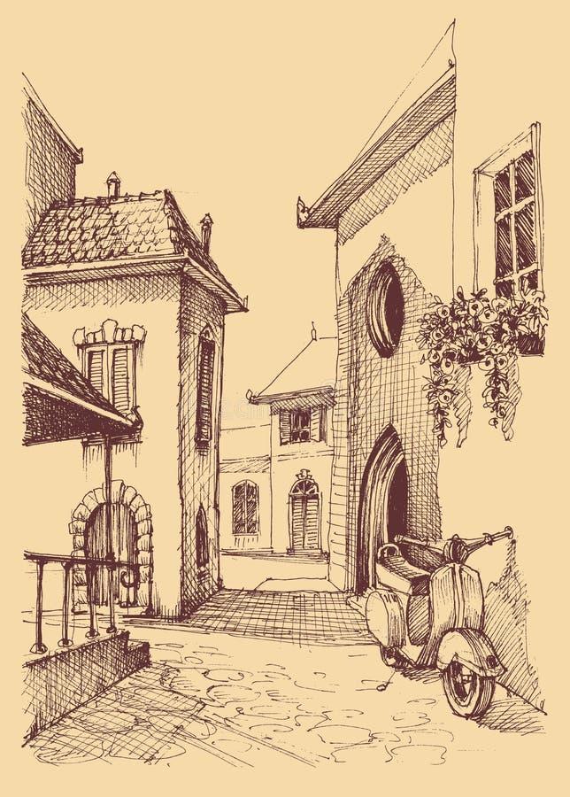 老城市手图画 皇族释放例证