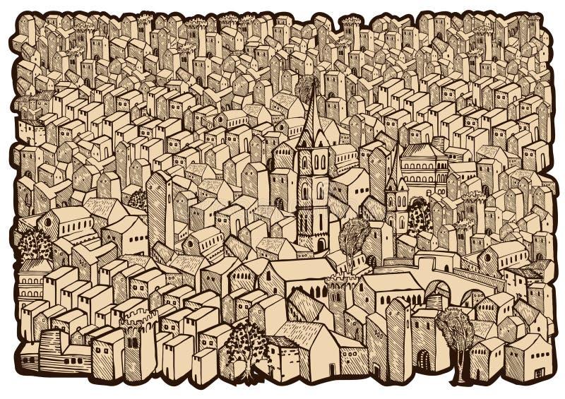 老城市映射 库存例证