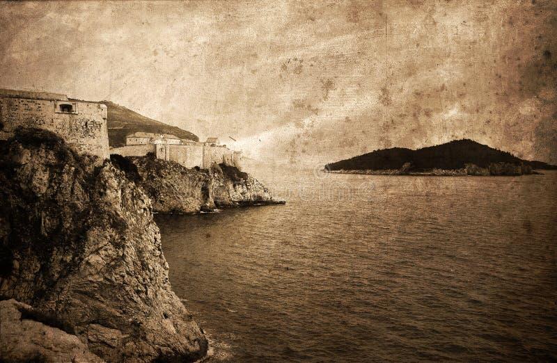 老城市杜布罗夫尼克设防,克罗地亚,欧洲 免版税库存图片