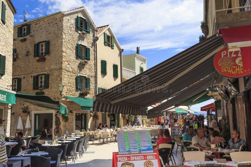 老城市的区域在Vodice,克罗地亚 库存图片