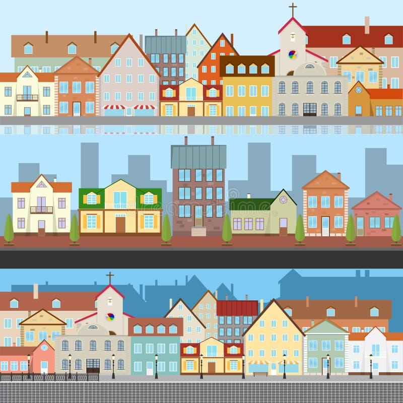 老城市的风景 老城市的视图 老镇的街道有河的 向量例证