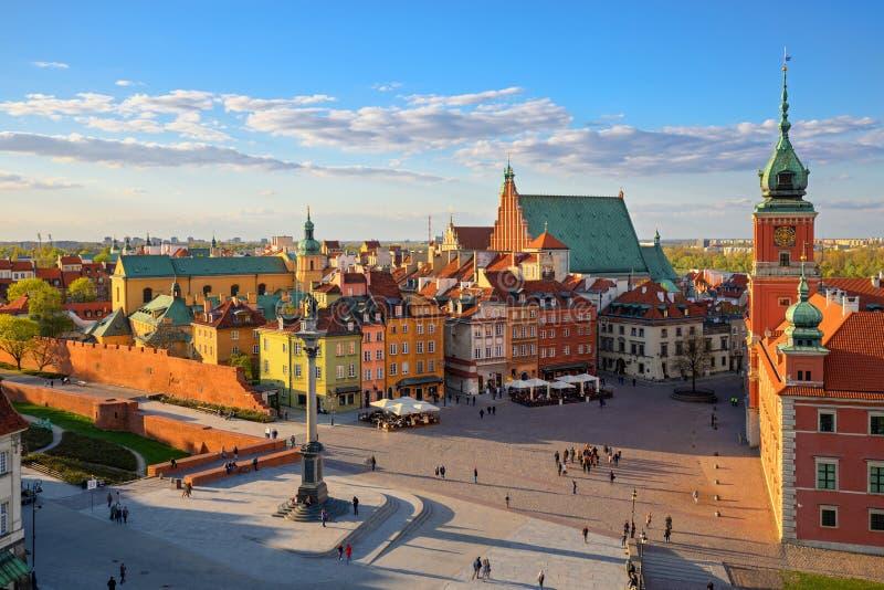老城市的鸟瞰图在华沙 库存照片