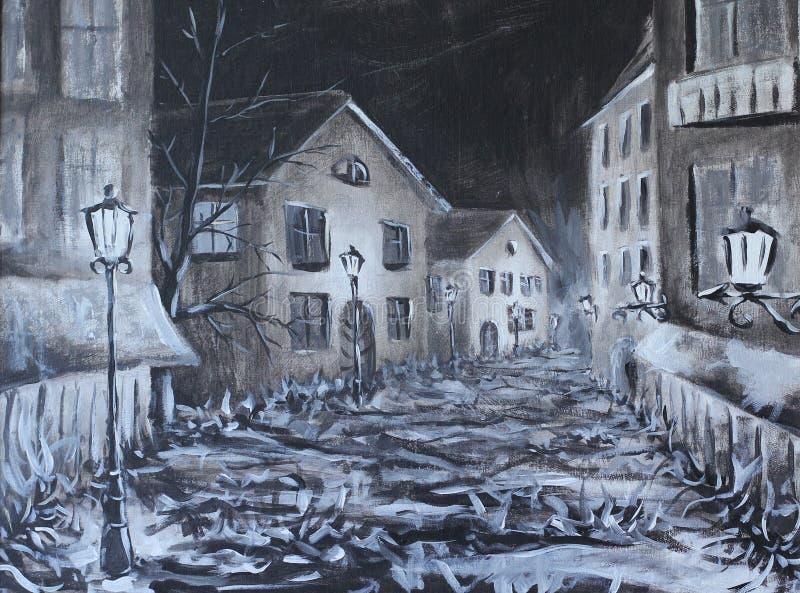 老城市的黑暗的街道在晚上 向量例证