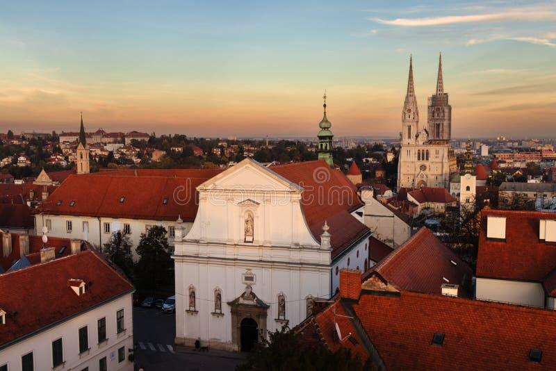 老城市萨格勒布,克罗地亚鸟瞰图  免版税库存照片