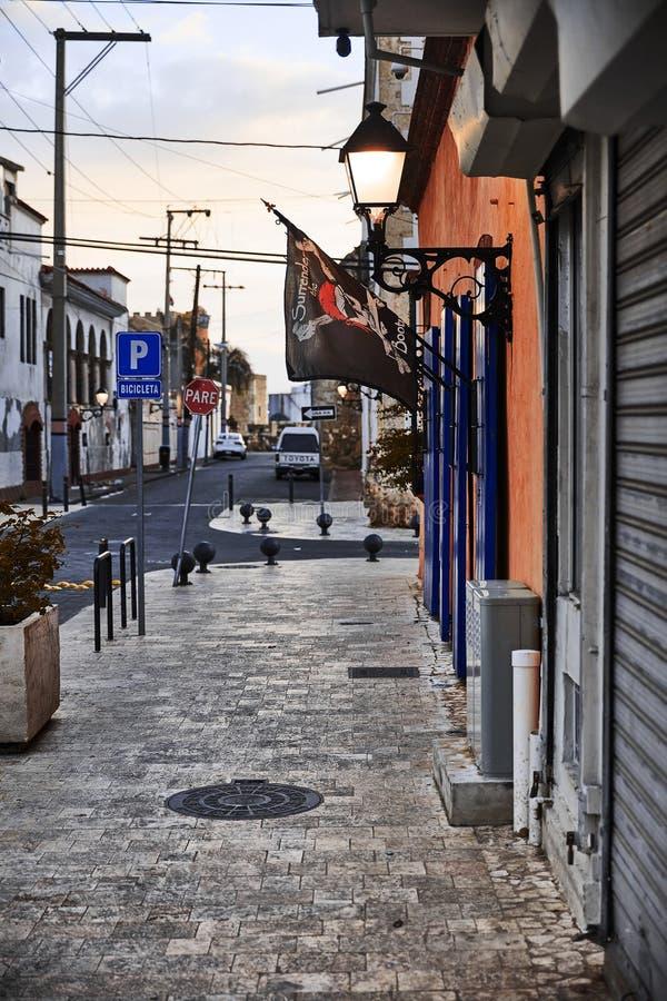 老城街景 殖民建筑细节 典型的殖民风格 多米尼加共和国圣多明各街道 免版税库存图片