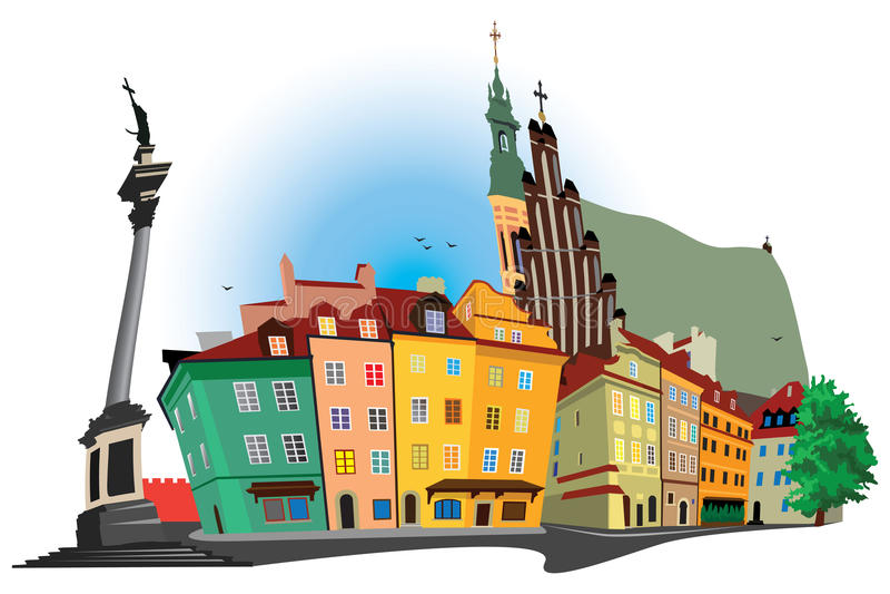 老城镇华沙 向量例证