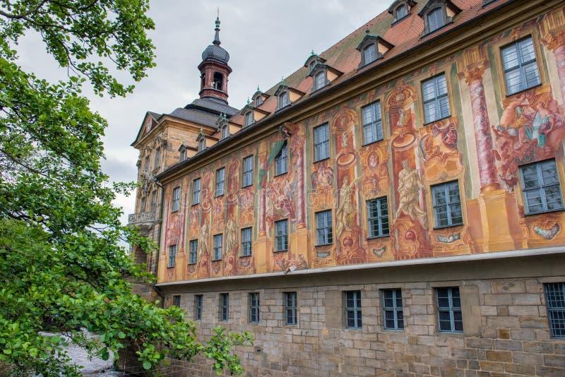 老城镇厅五颜六色的墙壁在琥珀,德国 图库摄影