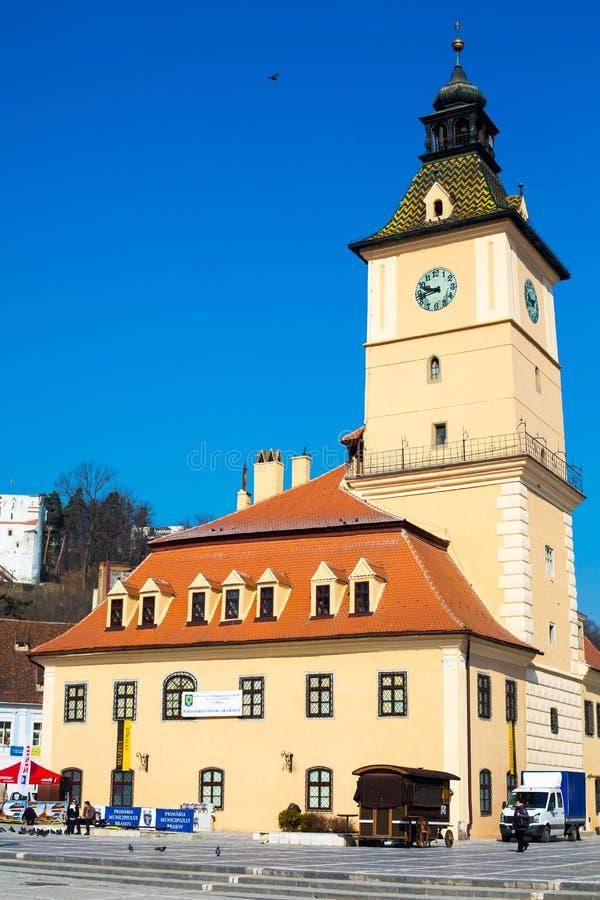 老城镇厅和理事会正方形,布拉索夫 免版税图库摄影