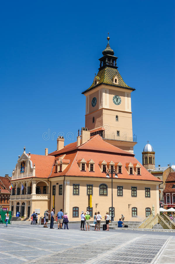 老城镇厅和理事会正方形,布拉索夫 库存照片