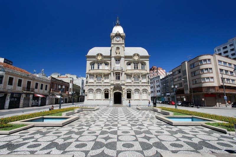 老城镇厅在库里奇巴,巴西 免版税库存照片